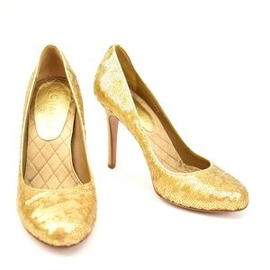 "CHANEL: Gold, Sequin & ""CC"" Logo Heels/Pumps"